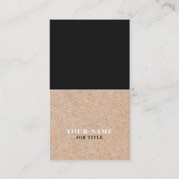 modern black printed kraft vertical business card