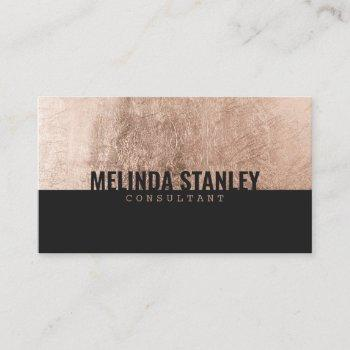 modern black rose gold foil elegant color block business card