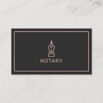 modern black rose gold notary loan signing agent business card