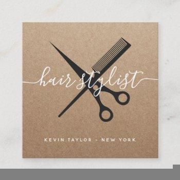 modern black scissors branding hair stylist kraft square business card