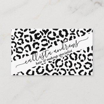 modern black white leopard animal print pattern business card