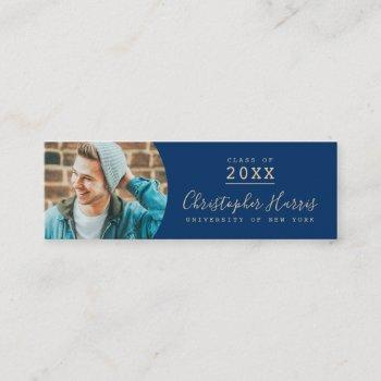 modern blue and gold graduation photo class of calling card