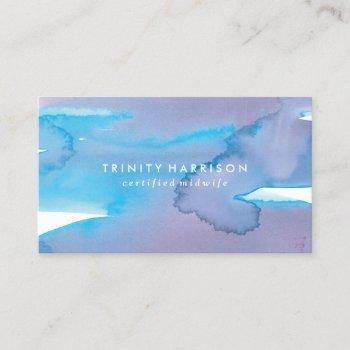 modern blue and purple watercolor business card