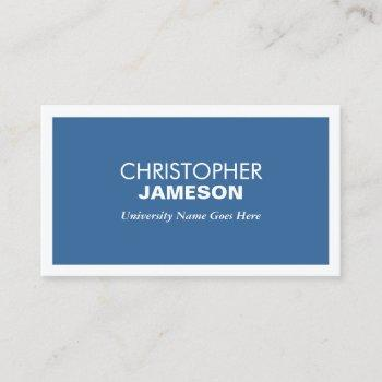 modern blue business card for college students