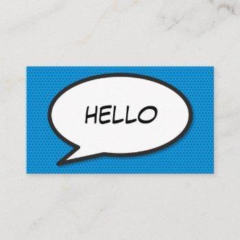 modern blue comic book speech bubble hello business card