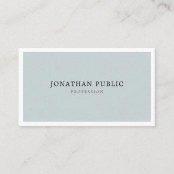 modern blue green minimalist elegant simple plain business card