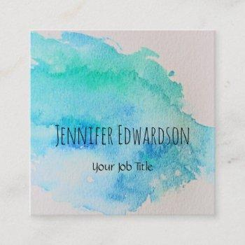 modern blue green teal watercolor splatter square business card
