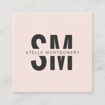 modern blush pink and black monogram professional square business card