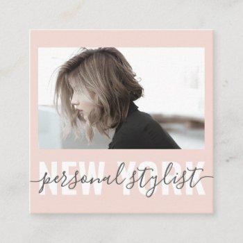 modern blush pink fashion stylist signature photo square business card