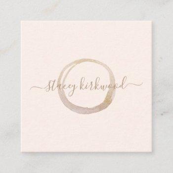 modern blush pink gold faux glitter circle logo square business card