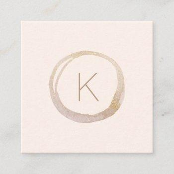 modern blush pink gold faux glitter monogram logo square business card