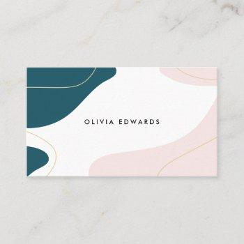 modern blush pink teal white abstract brushstrokes business card