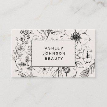 modern botanical blush and black horizontal business card