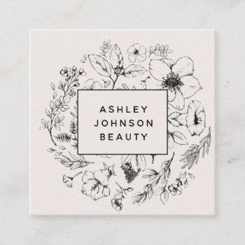 modern botanical blush and black square business card