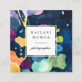 modern bright abstract painted pattern square business card