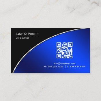 modern  bright blue qr elegant professional business card