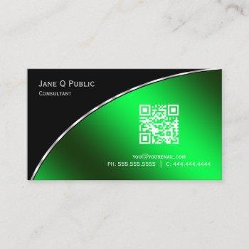 modern  bright green qr elegant professional business card