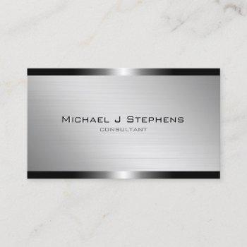 modern brushed aluminum with gunmetal bands business card