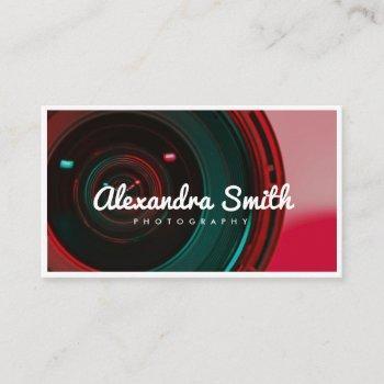 modern camera neon white script photography business card