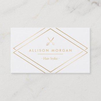 modern chic hair salon scissors faux gold look business card