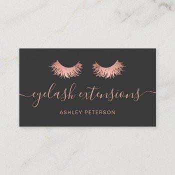 modern chic rose gold eyelashes trendy gray business card