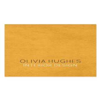 Small Modern Chic Texture Yellow Interior Design Square Business Card Front View