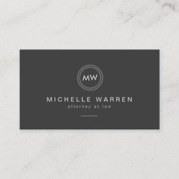 modern circle monogram initials attorney, lawyer business card