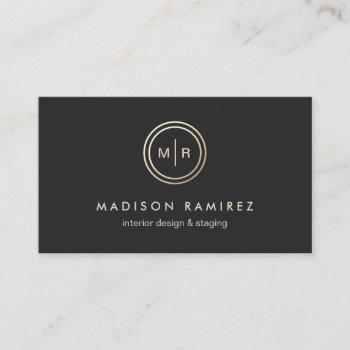 modern circle monogram logo classy black white business card