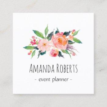 modern classy watercolor floral personalized square business card
