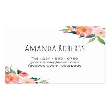 Small Modern Classy Watercolor Floral Personalized Square Business Card Back View