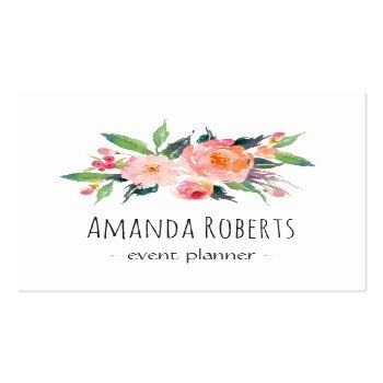 Small Modern Classy Watercolor Floral Personalized Square Business Card Front View