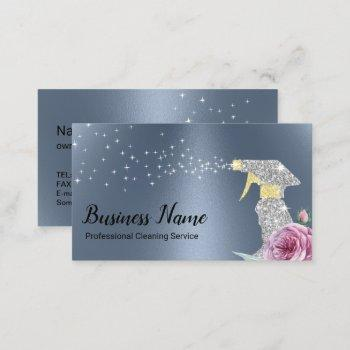 modern cleaning service silver spray dusty blue business card