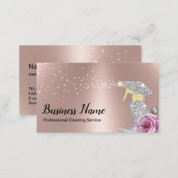 modern cleaning service silver spray rose gold business card