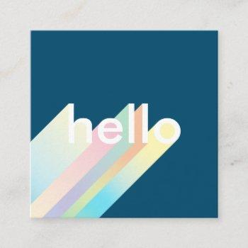 modern colorful gradient blue hello typography square business card