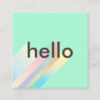 modern colorful gradient mint hello typography square business card