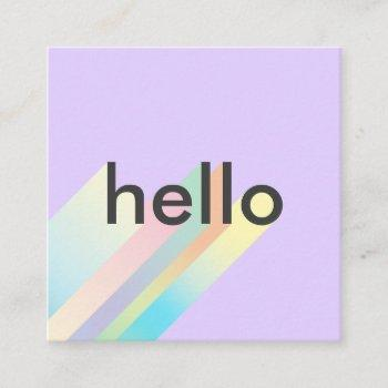 modern colorful gradient purple hello typography square business card