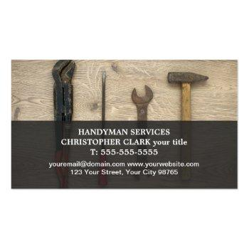 Small Modern Cool Hand Tools Handyman Magnetic Business Card Magnet Front View