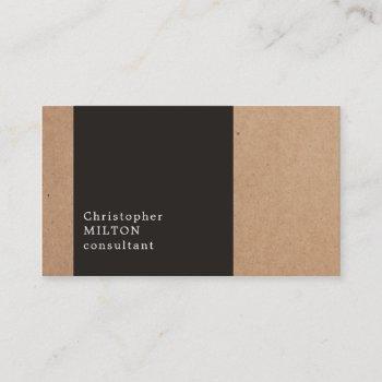 modern cool kraft paper dark grey consultant business card
