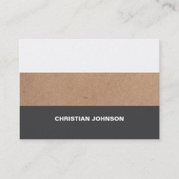 modern cool kraft paper grey white stripes business card