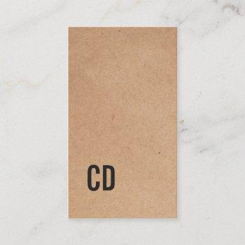 modern cool kraft paper(printed) black monogram business card