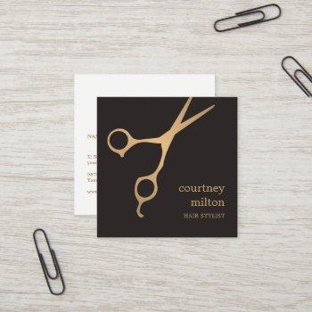 modern cool simple black faux gold hair stylist square business card