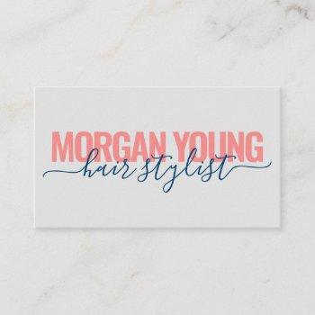 modern coral blue hair stylist script signature business card