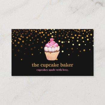 modern cupcake logo bakery chef catering confetti business card
