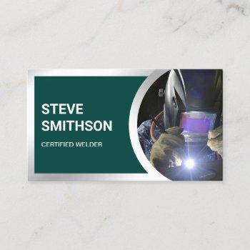 modern dark green steel welding fabricator welder business card