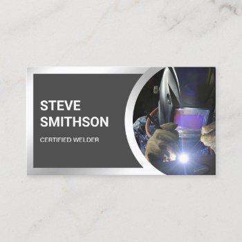modern dark grey steel welding fabricator welder business card