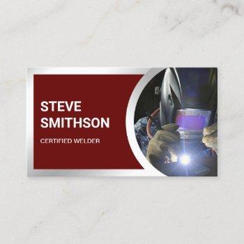 modern dark red steel welding fabricator welder business card