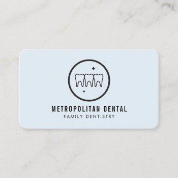 modern dentist teeth black logo on blue business card