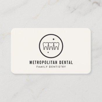 modern dentist teeth black logo on ivory business card