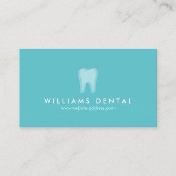 modern dentist tooth logo on aqua blue business card