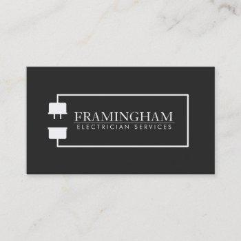 modern electrician extension cord logo black business card